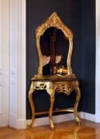 Casa Padrino Barock Spiegelkonsole Gold mit Marmorplatte
