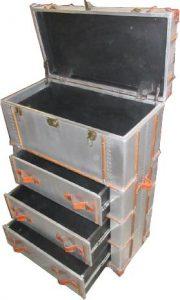 Casa Padrino Vintage Aluminium Koffer Schrank - Trunk Kommode - Reisekoffer Schrank Retro Flieger Flugzeug Möbel